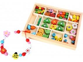 obrázek Dřevěné navlékací korálky v krabičce